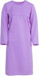 Damen Nachthemd Thermo mit Punkten und Stickerei Herbst Winter Größe M L XL XXL