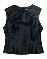 LEATHER Top Sz S Black Rear Zip Sleeveless
