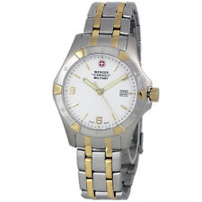 NWT WENGER 79237 Swiss Army Mens White Analog Watch Steel Bracelet $275 tag
