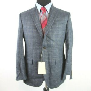 Jack Victor Blue Micro Check Sport Coat Mens 40R 40 Conway Textured Wool $695