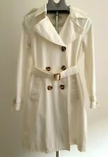 MICHAEL KORS Off White Cotton Double-breasted Belted Trench Coat size M