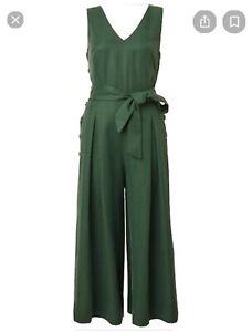 Witchery 8 Green Linen Jumpsuit