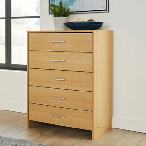 Stratford Oak Chest of 5 Drawers Bedroom Furniture With Metal Runners
