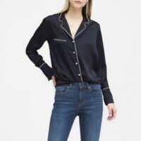 NWT Banana Republic Navy Blue Pajamas Pearl Button Down Top Women's Size Medium
