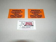 "Snack or Soda Vending Machine (2) Decals ""Notice All Money is Removed"""