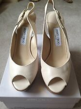 Jimmy Choo Cream Slingback/Gold Platform Shoes Size US9 EU39-EUC