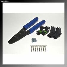 2 x Delphi WeatherPack 2-Pin Connector Kit, 14-16 Gauge with Crimper, From USA