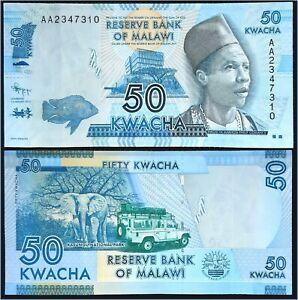 Billet MALAWI 50 Kwacha Crisp aXF Banknote (1 Jan 2012) P-58a 1st Prefix