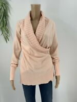Cache Womens Pullover Sweater Shawl Collar Size Small S Wool Blend Pink Knit