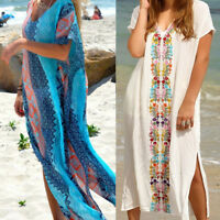 Women's Summer Boho Long Kaftan Maxi Dress Evening Cocktail Party Beach Dress AP