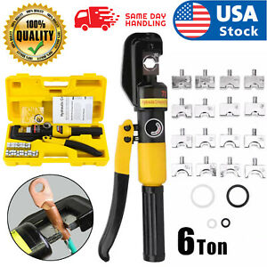 6 Ton Hydraulic Wire Battery Cable Lug Terminal Crimper Crimping Tool 8 Dies US