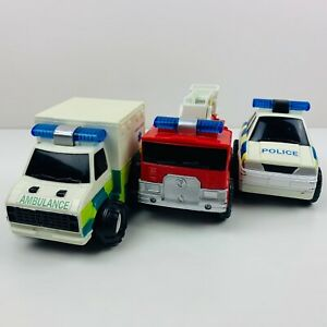 Bundle of Emergency Vehicles Childrens Toys Ambulance Fire Truck Police Car x 3