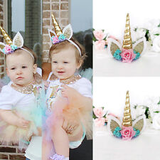 Magical Gold Unicorn Horn Head Party Flowers Hair Headband Fancy Dress Cosplay