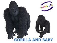 GORILLA ADULT AND BABY - PAPO - GORILLE WILD ANIMAL FIGURINE 50109 50034