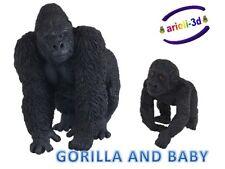 GORILLA ADULT AND BABY - PAPO - GORILLE WILD ANIMAL FIGURINE 50109 50034