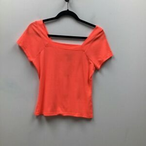 Good Luck Gem Womens Ribbed Top Orange Cap Sleeve Square Neck Stretch L New