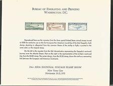 BUREAU OF ENGRAVING & PRINTING 23RD ASDA SHOW WASHINGTON DC GRAF ZEPPELIN SHEET