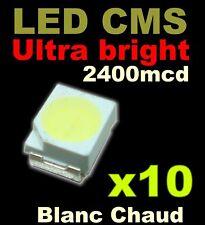 176/10# LED CMS Blanc chaud PLCC2 3528 10pcs 2400mcd