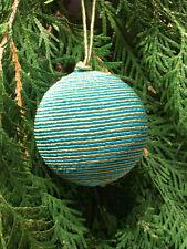 Christmas Tree Decoration - Green + Blue Corded Ball