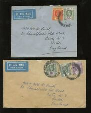 CEYLON KG5 1933-34 AIR to GB 39c FRANKING on 2 COVERS