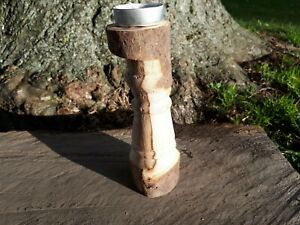 Unusual Turned Small Tea light Pillar Candle Holder Moor Birch Wooden Tealight