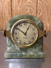 Elgin Desk Clock, 8 Day, Mounted In Green Stone Desk Mount With Very Rare Case.