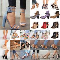 Women Ladies High Block Heels Sandals Pumps Ankle Strap Casual Party Shoes Boots