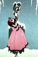 Erte 1982 - END of LOVE Lady in Snow Storm PINK DRESS Art Deco Print Matted