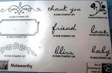 STAMPIN UP NEW RUBBER STAMP SET - 2006 - NOTEWORTHY - FREE SHIP word sentiment