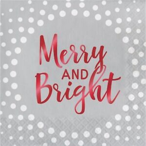 Foil Stamped Holiday Merry and Bright Silver Luncheon Napkins-3 Ply-16 Count