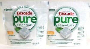 2 Cascade 5.7 Oz Pure Essentials Lemon Essence 11 ActionPacs Dishwasher Detergen