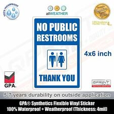 No Public Restrooms / Restroom For Customers Only / Store Business Sticker Sign