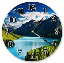 "10.5"" ALTAI MOUNTAINS BLUE LAKE VIEW CLOCK Large 10.5"" Wall Clock Décor 3197"