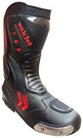 Stivali Moto Sport Racing Pista Strada Tecnico Microfibra Nero e Rosso 40 a 46