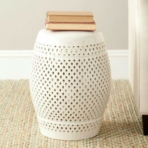 Patio Stool 14 in. W x 14 in. D x 17.5 in. H Weather Resistant in Cream Finish