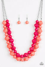 ~Rio Rhythm~ Pink & Coral Necklace Earrings Paparazzi Jewelry