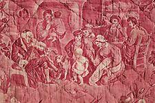 """Antique French toile de Normandy """" La Danse"""" Bolbec 1830-1840 costumes"""