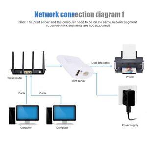 USB Drucker Network Print Server Adapter Share LAN Ethernet Networking Printer ☆