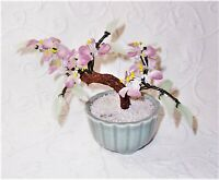 "vtg 6"" Asian handmade pink jade stone flower blossom celadon pot Bonsai tree euc"