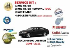 FOR LEXUS GS300 GS450H 2005-> REMOVAL TOOL + OIL AIR POLLEN 3 FILTER SERVICE KIT