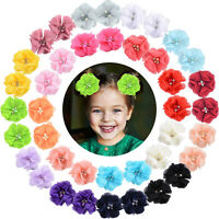 40pcs 2 Inch Chiffon Flower Fully Ribbon Lined Hair Clips for Baby Girls Infants