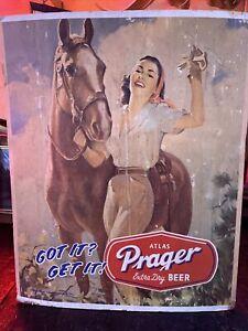 Vintage Prager Beer Counter Display Sign