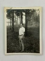 Man With Glasses In Woods Profile Vintage B&W Photograph Snapshot 4 x 5