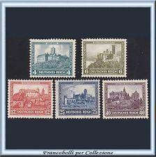 1932 Deutsches Reich Beneficienza Castelli n. 462/466 Nuovi Integri ** Germania