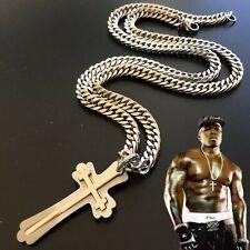 Collana con croce in acciaio inox da uomo catena rosario crocifisso rapper 60 cm