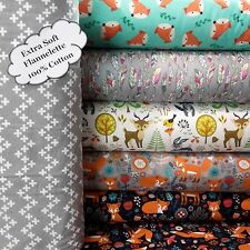 PATCHWORK NEW WOODLAND FLANNELETTE Grey 100% Cotton FABRIC Animal Material Cross