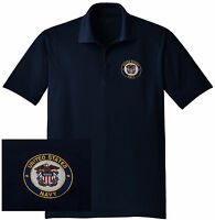 NEW US Navy Embroidered Moisture Wicking DRYFIT Navy Polo Shirt -Free Shipping!