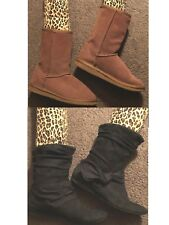 Lot 2 pair ARIZONA Suede Boots Black Ankle & Faux Fur Short Brown Womens Size 6