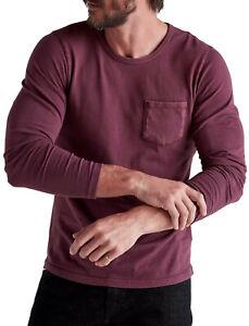 Lucky Brand Men's Wine Purple Long Sleeve Pocket Tee T-Shirt, S Small 3798-4