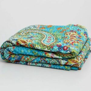 Indian Kantha Twin Quilt Turquoise Paisley Reversible Bedspread Throw Blanket